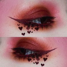 @sugarpill Feline Fancy palette, a lot of pink blush and @thekatvond / @katvondbeauty Damned liquid lipstick for the hearts and liner