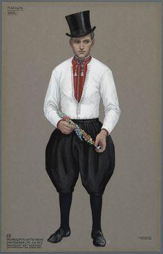 Marken, 1912. Bruidegom van de Witte Bruid. Aantekenen 's middags en met 'halfelfje' en 'venten'. (Met aantekenen nog zonder pijp) Jan Duyvetter #NoordHolland #Marken