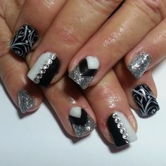 Black white and silver nails