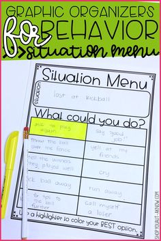 Teaching students with Autism appropriate behavior for school can be tricky. Taking a visual approach helps our students better understand how to cope with difficult situations. Use this graphic organizer for behavior in your special education classroom t
