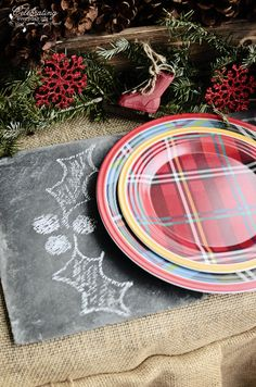 e3aa25e9c4e closeup of chalk art slate charger and plaid plates from my Front Porch Hot  Cocoa Party