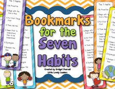 Bookmarks for the 7 habits - give to students or parents!