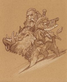 Boar Rider sketch by Justin Gerard. Love the proportions in his style.