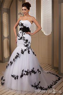 Black And White Corset Wedding Dresses - W0806