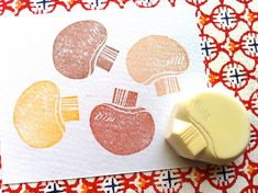 mushroom rubber stamp. vegetable hand carved rubber stamp. woodland stamp. autumn cooking craft projects. gift wrapping. card making