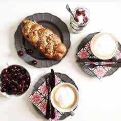 Coffe, pink, challah, enjoy!
