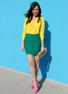 Note to self, MUST try colorblocking boldly...which means I need more color in my work wardrobe!