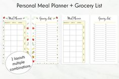 Personal Meal Planner Printable + Grocery List / Weekly Meal Planner / Fitness…
