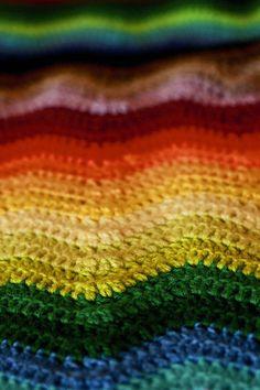 Rainbow Ripple Stitch Crochet Scarf