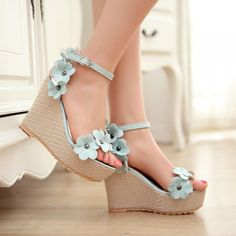 High Heel Ankle Strap Blue PU Sandals Available in US size 4 until US size 8