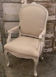 Vintage French Linen Arm Chair (Great Accent Chair for any room)