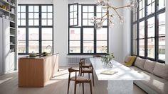 Unusual lighting, marble table kitchen