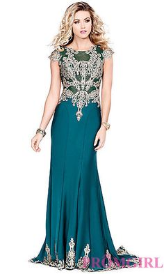 Long Prom Dress with a Sheer Back and Cap Sleeves at PromGirl.com