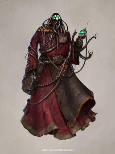 Mechanicus - Techpriest - (c) Games Workshop Ltd. by helgecbalzer on DeviantArt Character Concept, Character Art, Concept Art, Character Inspiration, Alien Concept, Warhammer 40k Rpg, Warhammer Fantasy, Steampunk, Sci Fi Characters