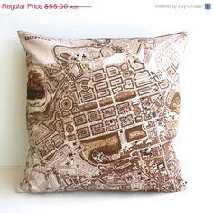 ON SALE decorative pillow map cushion city map  by mybeardedpigeon, $50.00