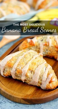 May 2020 - These Banana Bread Scones with Cinnamon Cream Cheese Glaze are crispy on the outside and tender on the inside. The scones are drizzled with a sweet glaze, which makes these treats perfect for breakfast, dessert, or a mid-morning snack! Banana Scones, Best Banana Bread, Banana Bread Cookies, Banana Bread With Glaze, Banana Bread Cream Cheese, Banana Treats, Banana Pancakes, Keto Cookies, Delicious Desserts