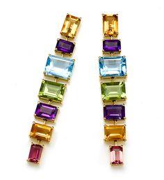 Multi Color Stones, Diamond, Earrings