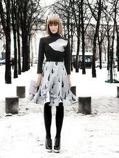 Vika Gazinskaya in Paris (Claudia Fessler for Mode Majeure) #streetstyle