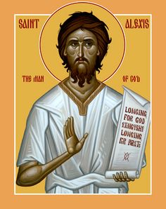 "Saint Alexis the Man of God left his betrothed to live as a beggar for 17 years near the church of the MostHoly Theotokos in Edessa. When he died, the Lord's voice was heard during Liturgy saying, ""Come to me, all you who labor and are heavy laden, and I will give you rest."" (Mar 17 - http://www.holytrinityorthodox.com/iconoftheday/los/March/17-01.htm)"