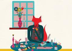 Fox illustration by Thereza of Tiny Red: Who Am I? (via The Zookeeper) #TinyRed #fox