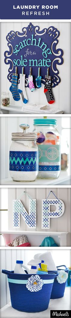 Refresh your laundry room with these fresh and clean DIY projects! Keep soap and detergents organized with rope baskets and decorate mason jars. Pair up lost mates with the help of this missing sock organizer. Get everything you need to make these project