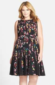 Adrianna Papell 'Veritas' Floral Spliced Fit & Flare Dress (Plus Size) available at #Nordstrom