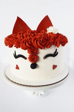 Here's a cute little baby fox cake I made for a customer. The cake is frosted with American buttercream and the nose, hearts, eyes and ears are made with gumpaste. Beautiful Birthday Cakes, My Birthday Cake, Pretty Cakes, Cute Cakes, Pastel Mickey, Fox Cake, Animal Cakes, Cake Wrecks, Cake Decorating Techniques