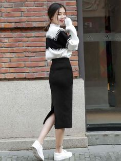 Classy Work Outfits, Casual Fall Outfits, Modest Outfits, Simple Outfits, Skirt Outfits, Chic Outfits, Korean Girl Fashion, Ulzzang Fashion, Japanese Fashion