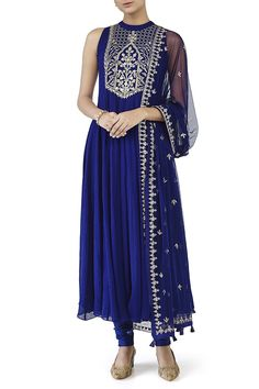 97576ba5066b Check out this vogue of enchanting piece to restyle your senses with  gorgeous Blue Anarkali in mandrian collar crafted in georgette ...