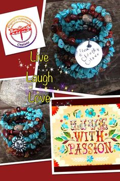 Live Laugh Love five wrap beaded memory wire by DFInspirations, $40.00
