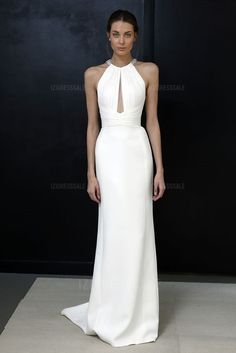 Sheath/Column Jewel Court Train Chiffon Wedding Dress