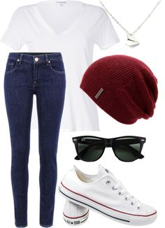 berry purple beanie, wayfarers, white tee, jeans, chucks.