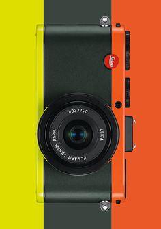Leica Camera, color block, orange, black and citron yellow Leica Camera, Camera Lens, Camera Photos, Presentation Layout, Photography Camera, Vintage Cameras, Design Reference, Graphic Design Illustration, Industrial Design