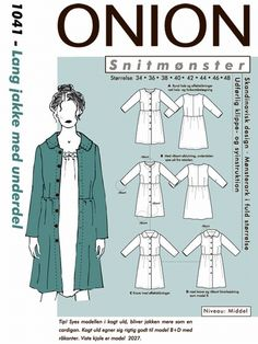 Snitmønster, Lang jakke med underdel Girl Fashion Style, Mori Girl Fashion, Onion, Sewing Crafts, Sewing Patterns, Textiles, Coats, Awesome, Diy