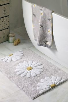 Daisy Bath Mat Clean Bottle, Fabric Drawers, Drawer Unit, Bee Design, Bath Sheets, Bottles And Jars, Diy Home Crafts, Cotton Towels, Next At Home