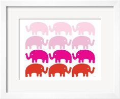 Pink Elephant Family - Art.com | domino.com