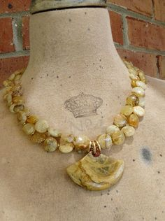 Golden Jasper Statement Necklace withJasper Pendant by pmdesigns09