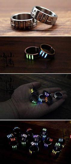 Tritium Nite Self-Luminous Ring - Kaley Lu. Cute Jewelry, Jewelry Accessories, Unique Jewelry, Accessoires Iphone, Ring Set, Unusual Gifts, Cool Things To Buy, Stuff To Buy, Rings For Men