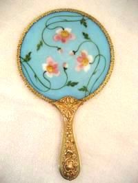 Antique Victorian hand painted blue opaline glass vanity hand mirror late 1800's