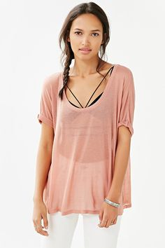 Silence + Noise Deep Scoop-Neck Dolman Tee - Urban Outfitters