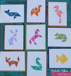 Faliképek formákból - tangram nyomda radírgumiból - puzzle / Mindy -  kreatív ötletek és dekorációk minden napra
