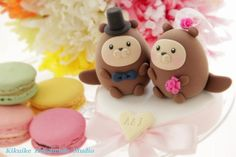 bride and groom otter ocean theme Wedding Cake Topper by kikuike