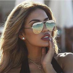 31b70308b0 mirror gold metal sunglasses women Luxe brand designer trendy 2018 new sexy  pilot sun glasses female
