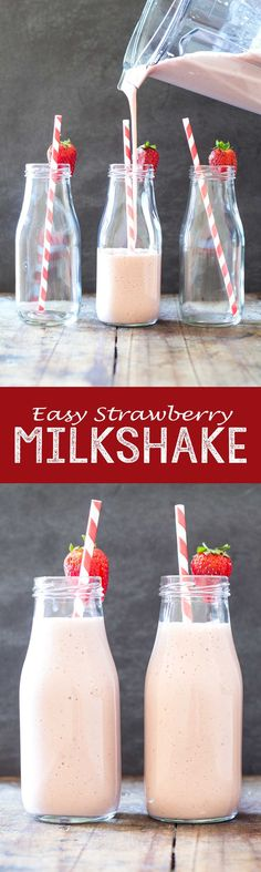 The easiest, quickest, healthiest and most insanely delicious snack drink you've tried in your life! This Easy Strawberry Banana Milkshake is a keeper! Easy Strawberry Banana Milkshake