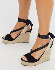 Discover a range of high heels with ASOS. Fromt black heels to bright silver, browse our range of classic peep toes, court shoes or strappy sandals from ASOS. Lace Up Espadrille Wedges, Heeled Espadrilles, Strappy Sandals Heels, Wedge Sandals, Vegan Sandals, Asos, Clear Strap Heels, Holiday Shoes, Style
