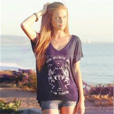 Women Loose Graphic Tee Tops Blouse Short Sleeve Hipster Punk Band Rock T-Shirt