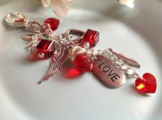Check out this item in my Etsy shop https://www.etsy.com/listing/217949575/purse-charm-beaded-keychain-valentine