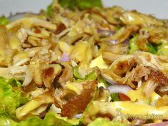 Ensalada de pollo con vinagreta de mostaza y miel