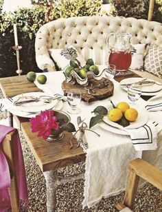 Outdoor table setting, tufted settee
