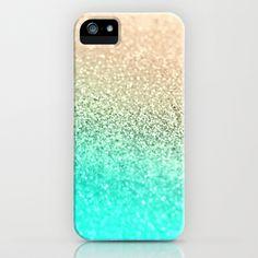 GATSBY AQUA GOLD iPhone & iPod Case #aqua #mint #gold #ombre #iphone #case #glitter #fresh #summer #spring #case #cover
